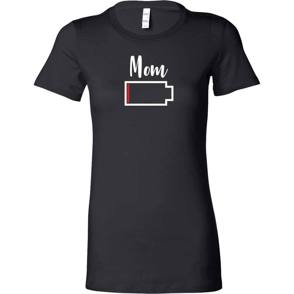 Mom - No Battery T-Shirt - Funny Family Matching Shirt - Black