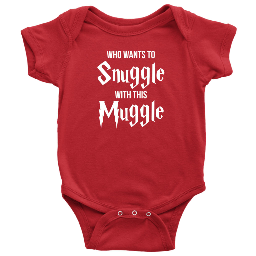 Who Wants To Snuggle With This Muggle - Harry Potter Inspired Baby Onesie - Red