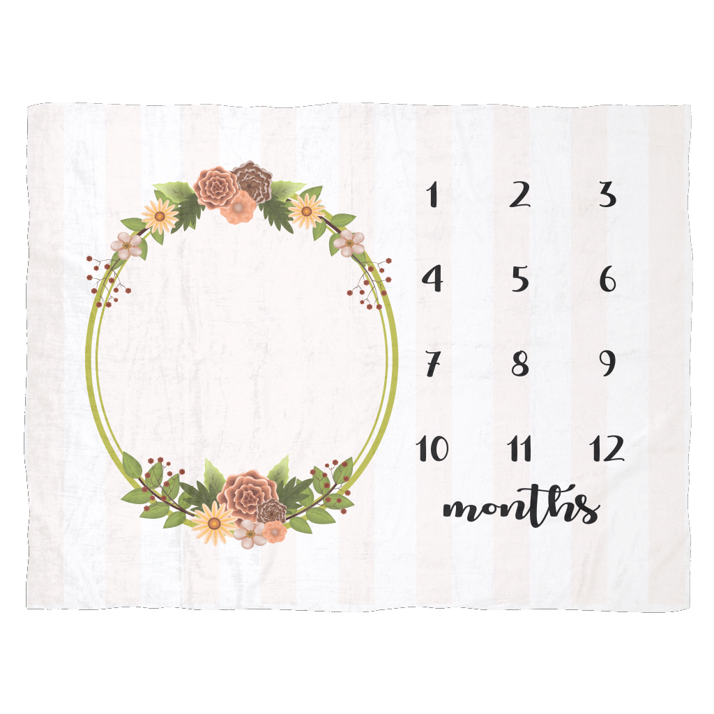 Striped Floral Monthly Milestone Baby Blanket  - Cute Baby Shower Gift