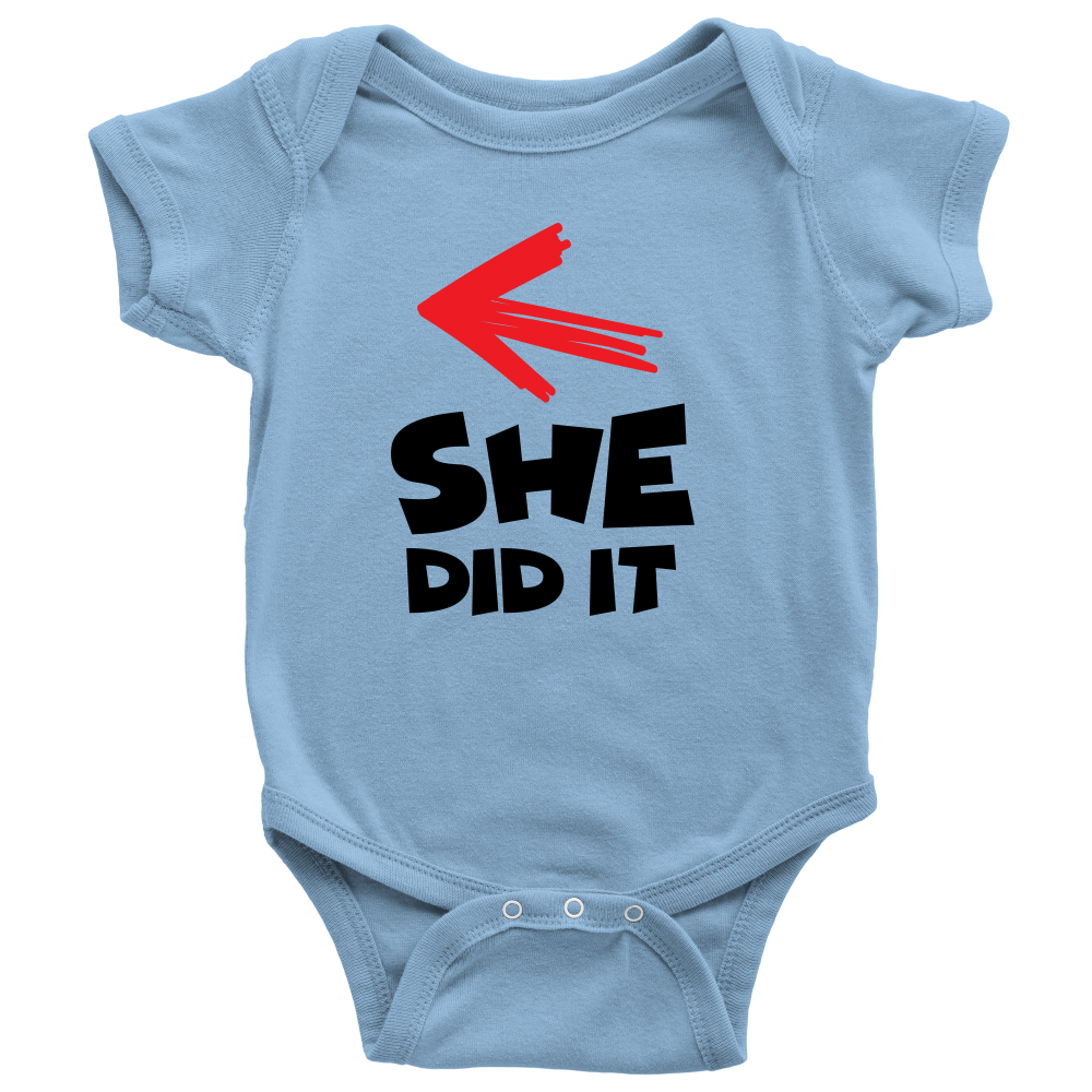 She Did It - Cute Blue Twins Onesie