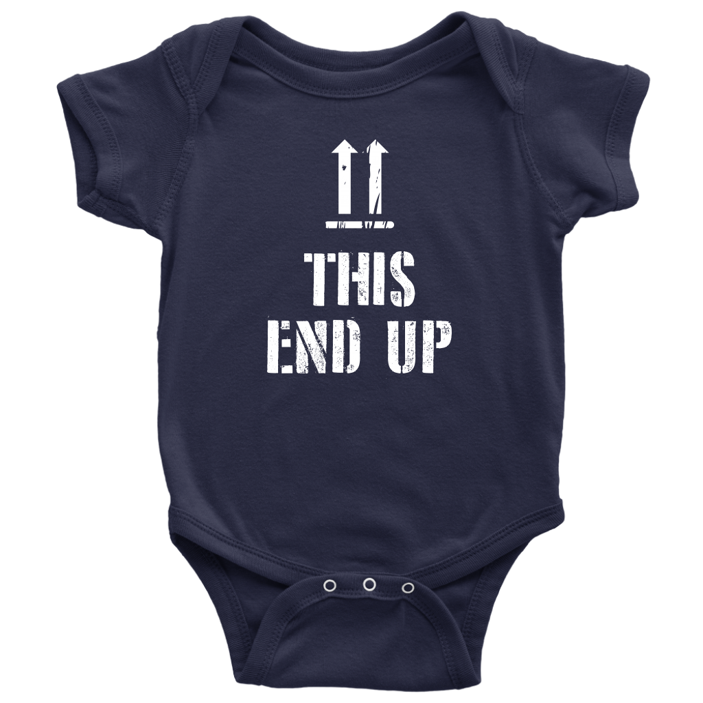 This End Up - Funny Baby Onesie - Navy