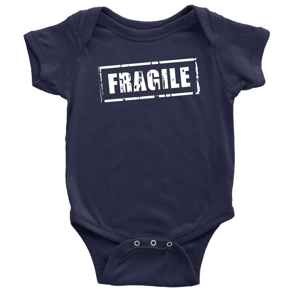 Fragile - Fun Newborn Baby Onesie - Navy