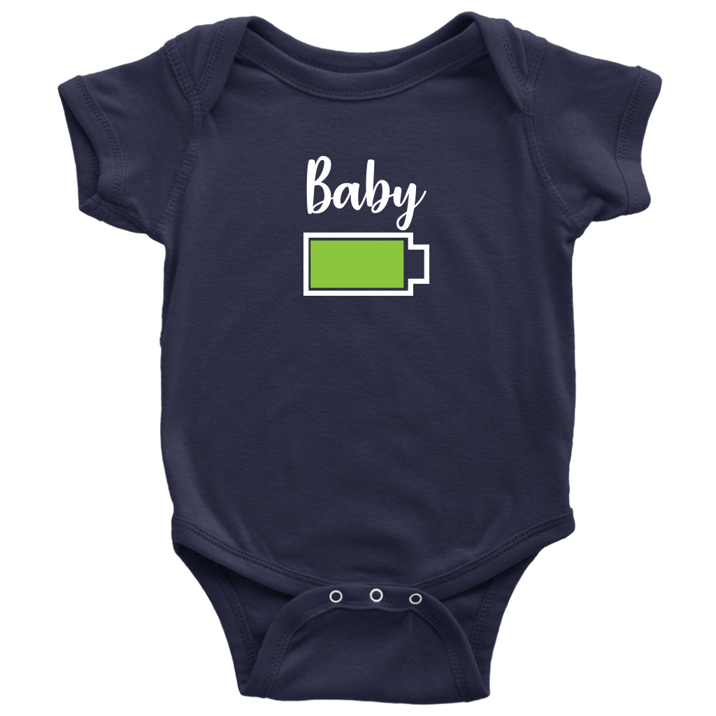 Baby - Full Battery Onesie - Funny Family Matching Shirt - Navy