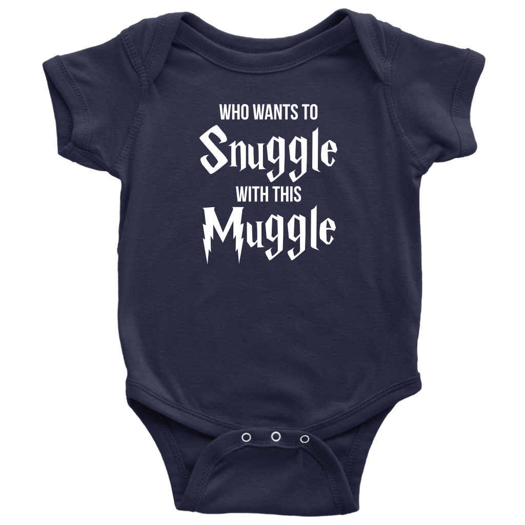 Who Wants To Snuggle With This Muggle - Harry Potter Inspired Baby Onesie - Navy
