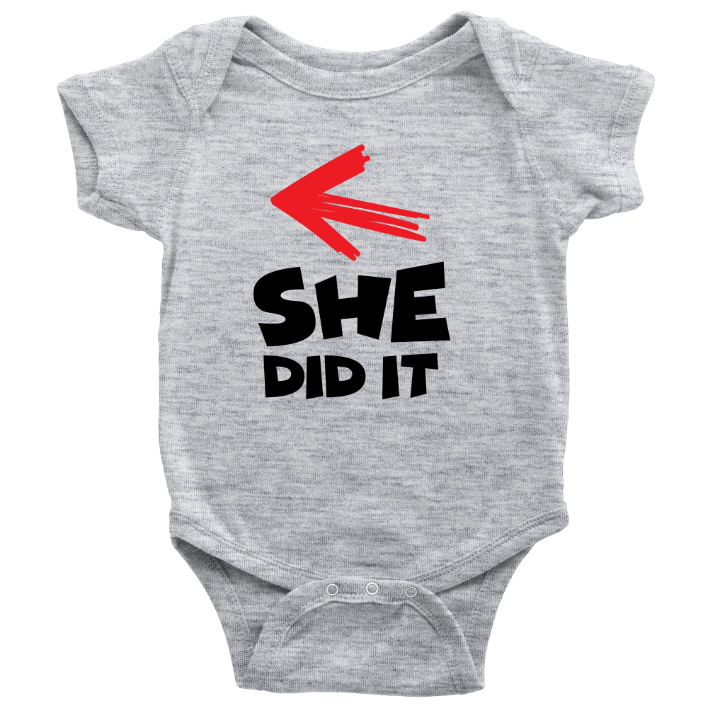 She Did It - Cute Gray Twins Onesie
