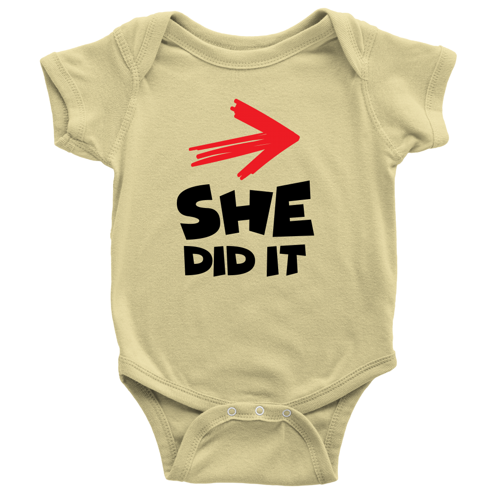 She Did It - Cute Yellow Twins Onesie