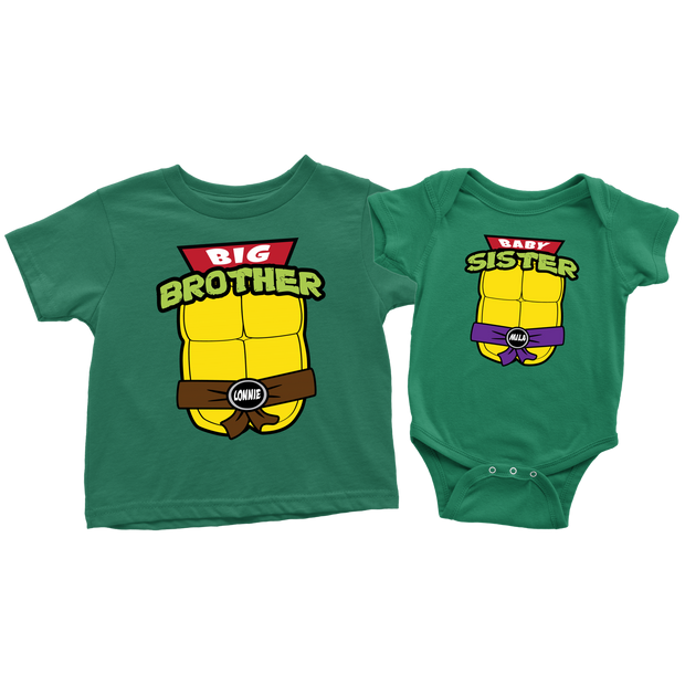 Custom Ninja Turtle T-Shirt Set - Big Brother & Baby Sister