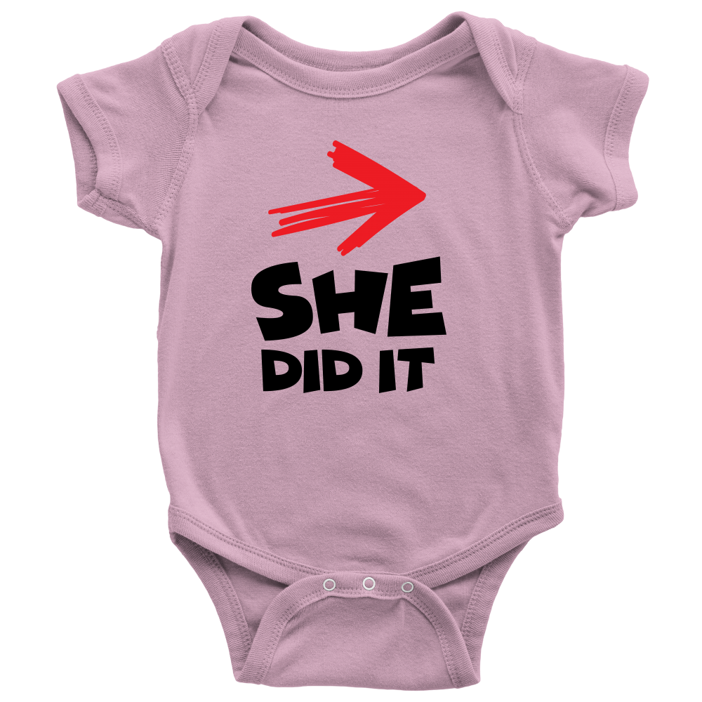 She Did It - Cute Pink Twins Onesie