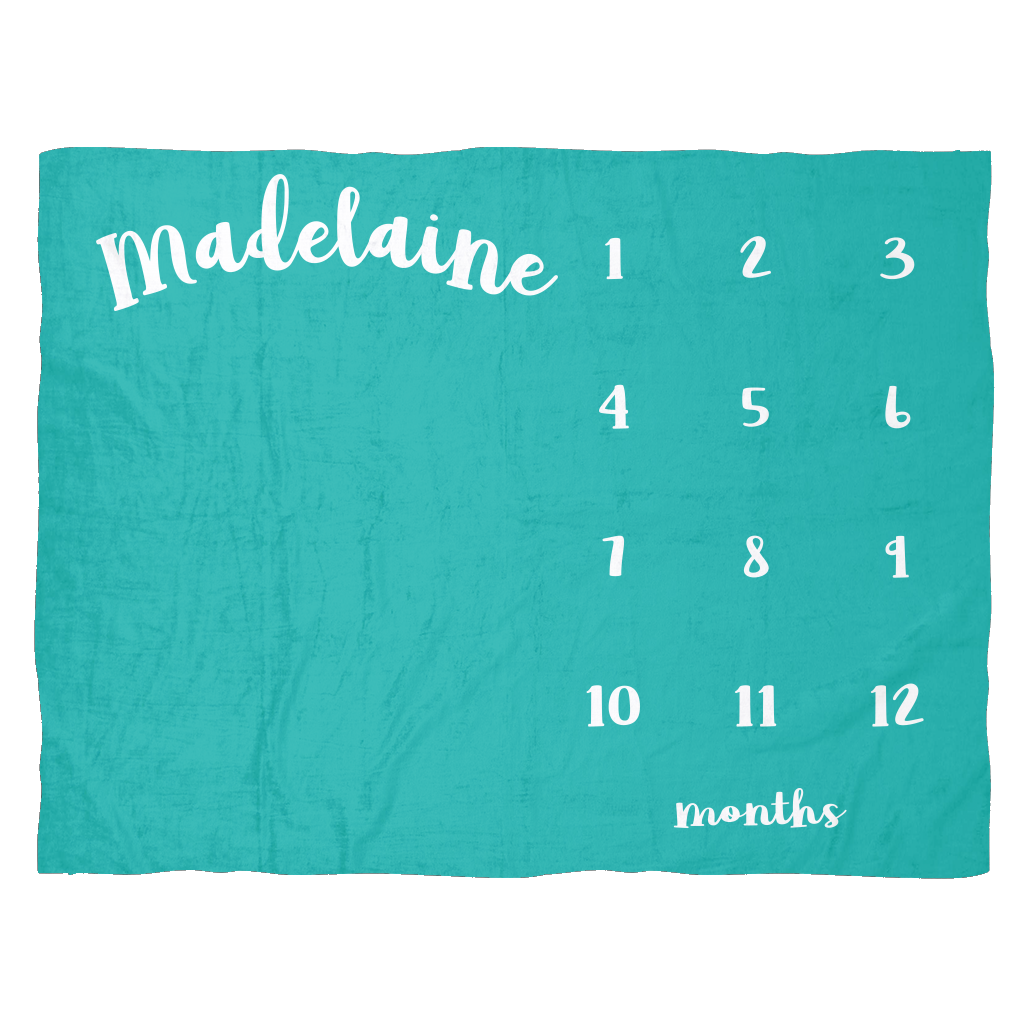 Custom Teal Monthly Milestone Baby Blanket - Cute Baby Shower Gift