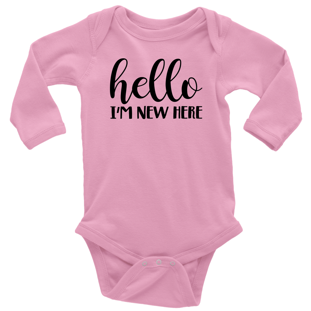 Hello I'm New Here - Long Sleeve Baby Bodysuit