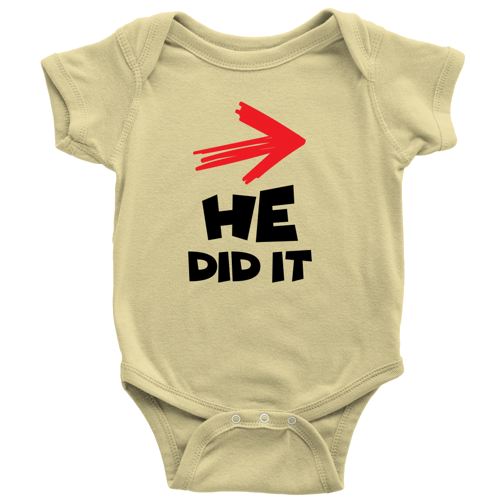 He Did It - Cute Yellow Twins Onesie