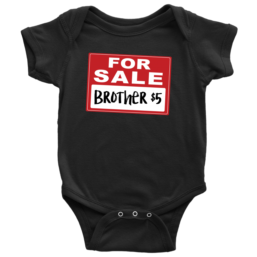 Brother for Sale - Funny Baby Onesie - Black