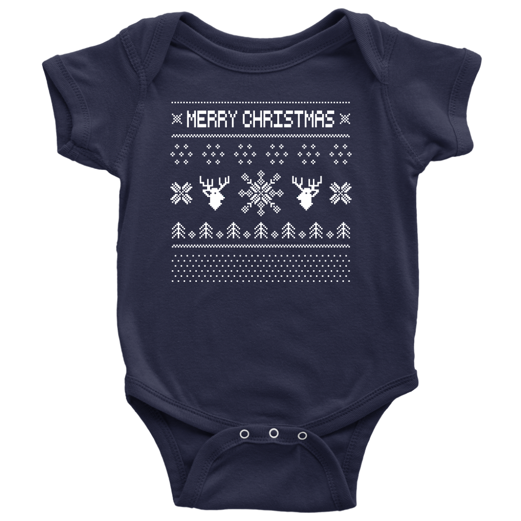 Ugly Christmas Infant Onesie - Navy