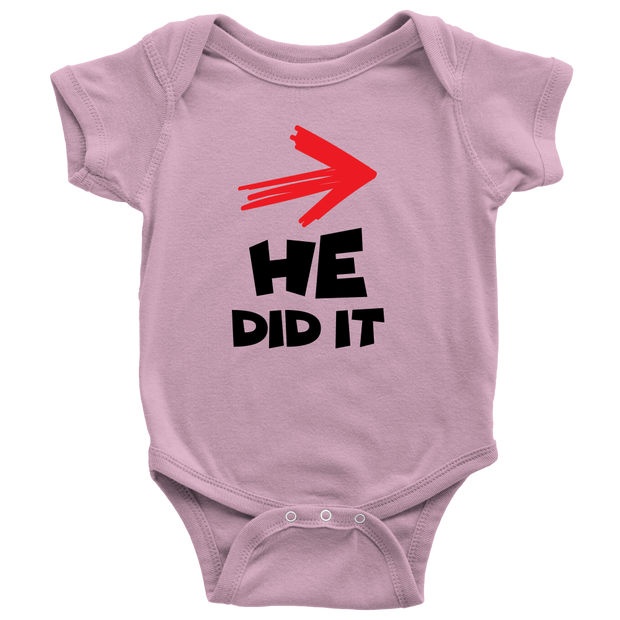 He Did It - Cute Pink Twins Onesie