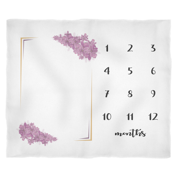 Monthly Milestone Baby Blanket with Purple Flowers - Cute Baby Shower Gift