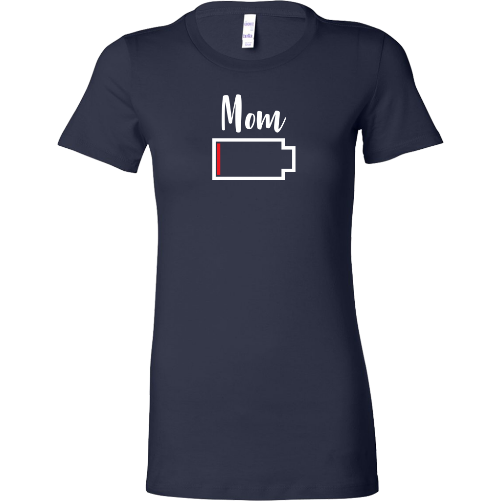 Mom - No Battery T-Shirt - Funny Family Matching Shirt - Navy