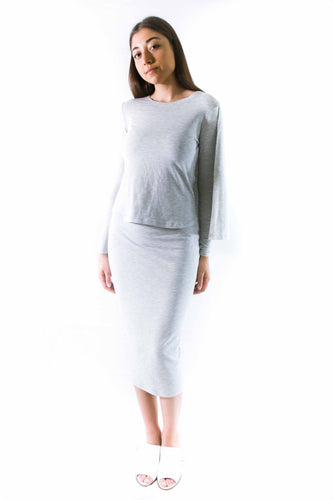 Nordest Light Grey Pencil Skirt