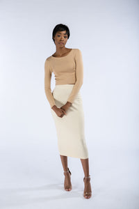 Nordest Heather Almond Pencil Skirt