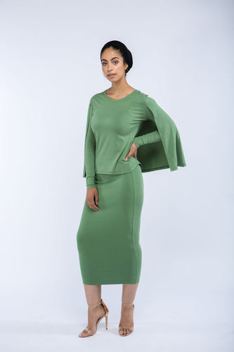 Nordest Soft Olive Pencil Skirt
