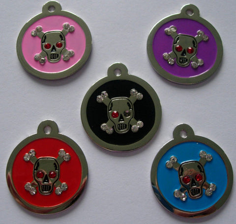 Color Filled Round Swarovski Skull Pet Tag 5 Colors