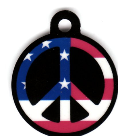 Round American Flag Black Peace Sign