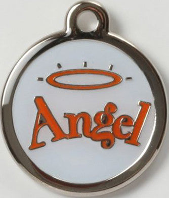 Color Filled Round Angel Halo Pet Tag