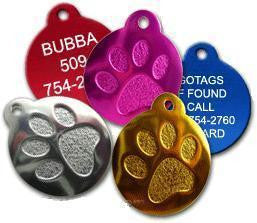 Anodized Round Paw Print Pet ID Tag
