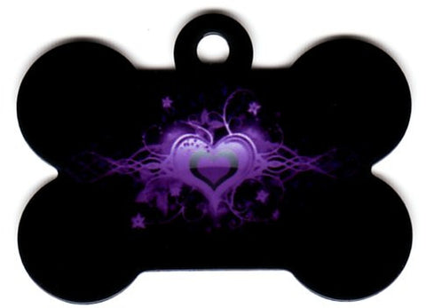 Black Bone With Purple Heart Pet Tag