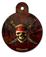 Round Disney Black Pirates of Caribbean Pet Tag