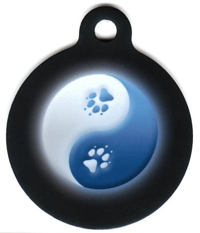 Round Blue and White Yin Yang Pet ID Tag