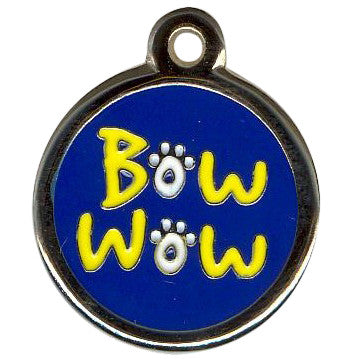 Color Filled Round Bow Wow Pet Tag 2 Colors