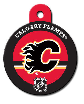 Round NHL Calgary Flames Pet Tag