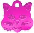 Anodized Cat Face Pet ID Tag 8 Colors