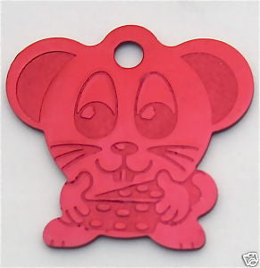 Anodized Mouse With Cheese Pet ID Tag 8 Colors