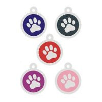 Stainless Steel Round Colored Paw Pet ID Tag