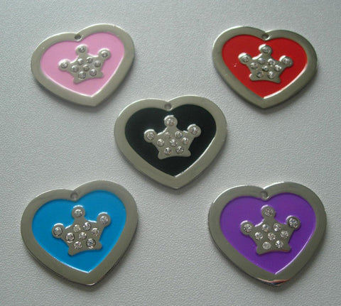 Color Filled Heart Swarovski Crown Pet Tag 5 Colors