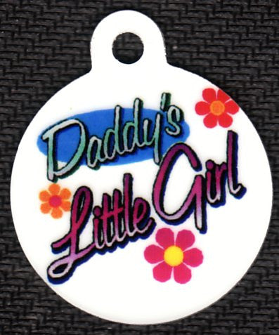 Round Daddy's Little Girl With Flowers Pet Tag