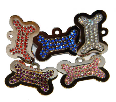 Bling Bone Swarovski Front Pet Tag 5 Colors Of Stone
