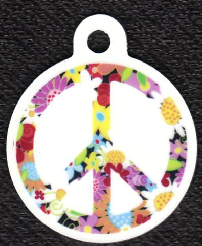 Round Floral White Peace Sign