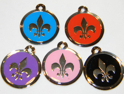 Color Filled Round Fleur de lis Pet ID Tag