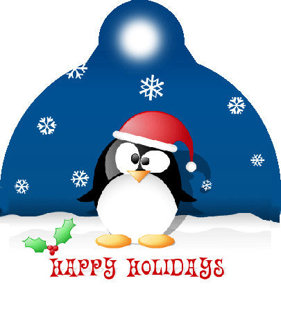 Happy Holidays Penguin Pet Tag