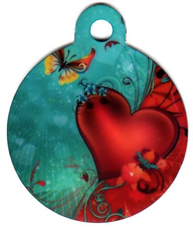 Round Heart And Butterfly Pet Tag