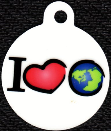 Round I Love Earth Pet Tag