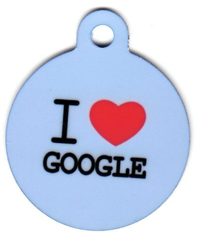 Round I Heart Google Pet Tag