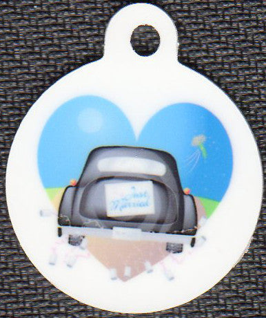 Round Just Married Pet Tag