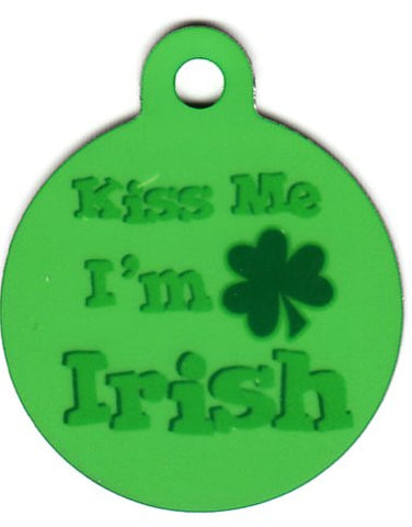 Round Kiss Me I'm Irish Pet Tag