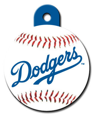 Round MLB LA Dodgers Pet Tag