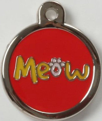 Color Filled Round Meow Pet Tag