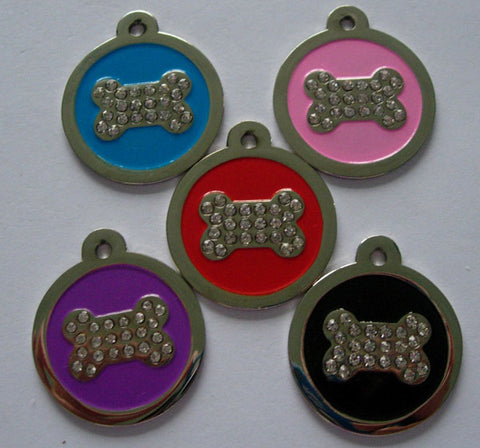 Color Filled Swarovski Heavy Duty Round Bone Print Pet Tag 5 Colors
