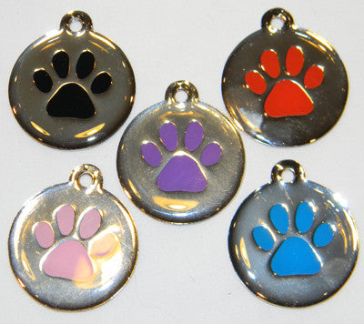 Color Filled Round Inside Paw Prints  Pet Tag 5 Colors